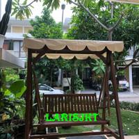 Ayunan 3 Dudukan + Payung / Kanopi Kayu Jati Jepara Outdoor / Indoor