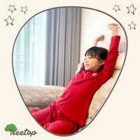 Piyama Anak / Cotton Bamboo / 4-10 tahun/ Red - Merah / Treetop