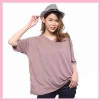 Kaos Jumbo Baju Atasan Wanita Oversize Big Size Santai Polos XXL