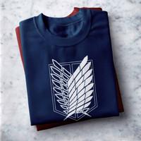 A.01 COD Kaos Distro Sablon Printing Attack On Titan / T-Shirt Unisex - Biru, M