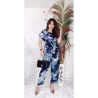 Baju Setelan Tiedye Wanita Celana Panjang Motif Macan dan Bunga Part 2