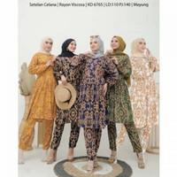 Setelan Wanita Setcel Oneset Hyget Motif Sultan Baju Tidur Dewas