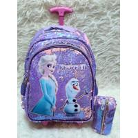 Tas Anak Troli SD Sequin Flip Glitter Frozen Koper Anak Trolley