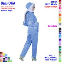 Baju OKA, Baju Perawat / Seragam OKA, Seragam Perawat Lengan Panjang - Biru Muda, S