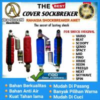 Cover Shockbreaker Belakang Sarung Shock Beat Vario Scoopy Waterproof - navy, original