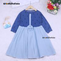 Dress Valencia 7-8 Tahun / Baju Perempuan Lengan Panjang Dres Anak