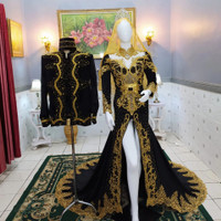 couple baju pengantin adat jawa hitam payet jpg gold