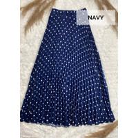 Rok Plisket Onde Rampel Muslimah / Polka Dot Pleated Flare Skirt - Navy