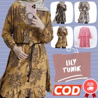 Baju Tunik Daisy Wanita Motif Batik Lengan Panjang Fashion Murah