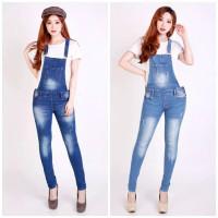 Celana Kodok Overall Skinny Jeans Wanita Denim Distroy Big Size JSK - BIRU MUDA 1755, 27