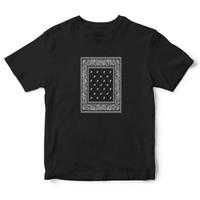 LITTLE STUFF Bandana Paisley Pattern T Shirt Black