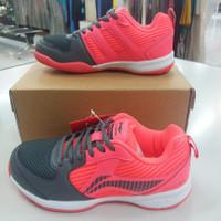 sepatu spatu sapatu badminton Li Ning Lining attack G7 grey/ pink ori
