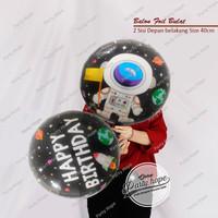 balon foil bulat astronot / balon bulat happy birthday astronot hitam