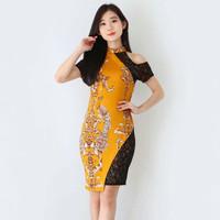 Baju Batik Wanita-Dress Batik Cheongsam Merah Merak Size M, L, XL