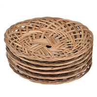 Piring Rotan Anyam Anyaman Asli Bambu Lidi Murah Tempat Makan Bulat