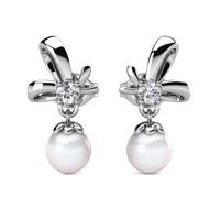 Posie Pearl Earrings - Anting Crystal by Her Jewellery - White Gold
