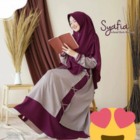 Gamis Syari Wanita Setelan Plus Hijab Perempuan Fashion Muslim Terbaru - maroon, all size