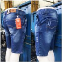 celana pendek pria model sobek/ celana jeans pria bahan denim