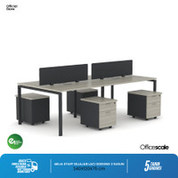 Meja Kerja Kantor Berhadapan 4 Orang + Pedestal