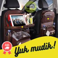 Premium Car Seat Organizer Kulit Tas Belakang Jok Mobil Meja Lipat
