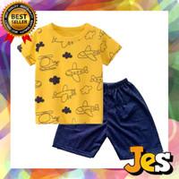 Baju stl pdk anak laki-laki / kaos dan celana pesawat kuning 1-10 T