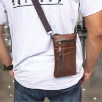 tas kulit tempat hp asli kulit bisa di selip di ikat pinggang
