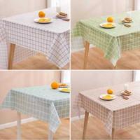 Taplak Meja Kotak Kotak Alas Plastik Anti Air Minyak Peva Table Cloth