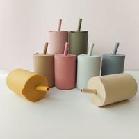 Baby Silicone Cup + Straw   Gelas Bayi Silikon + Sedotan