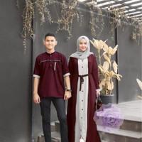 Baju Couple Pasangan   Baju Pria Gamis Wanita   Baju Couple SINHA - Maroon