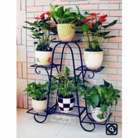 Standing Pot besi isi 6 , Rak bunga , Pot bunga , dudukan pot