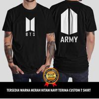 T shirt Baju Kaos K POP BTS ARMY Tangan Pendek Murah Unisex - S