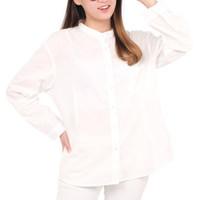 50157 All Size Baju Atasan Koko Wanita Lengan Panjang Blouse Putih
