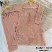 stelan baju tunik pearly broklat warna dusty
