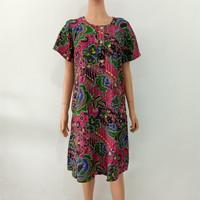 01 Kencana Ungu label biru baju pakaian daster batik dasar pink