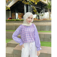 Keke Blouse 2in1 Atasan Baju Muslim Fashion Remaja Korea Wanita Murah