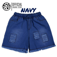 Hotpants Ripped Casual Denim Premium Soft Jeans by Buayo Japang - Navy, XL