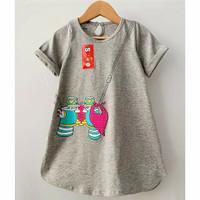 Daster Anak Smilee Sablon size 1-5th - Baju Anak Perempuan Dress Anak - Abu-abu, 5 tahun