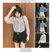 baju atasan kemeja jumbo tipis transparant pink biru putih
