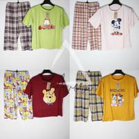 Baju Tidur Wanita Set Piyama Setelan Import Motif Celana 3/4