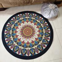 Karpet Lantai Bulat / Matras Lantai Turki motif Morroco diameter 90 cm
