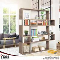 Rak Buku Pembatas Ruangan Bookshelf Elegan Modern dan Minimalis