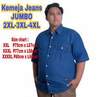Kemeja jeans jumbo Big size pria/cowok Lengan panjang/pendek XXXXL