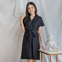 Dress casual wanita hitam linen EVRIDAY CLOTHING / Pansy Dress