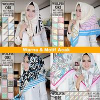 Jilbab Segiempat Wolvis Motif by Hana Turkey - Hijab Segi Empat Wolfis