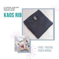 Baju Kaos Polos Lengan Panjang Dewasa Pria/Wanita Katun RIB Premium
