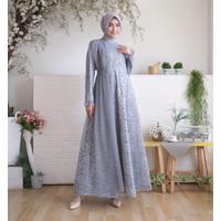 Baju Muslim Wanita / Baju Gamis Wanita Lunara Dress Brokat Abu-abu