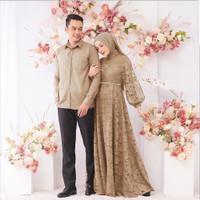 baju muslim couple Zulaikha sepasang gamis brukat lebaran terbaru