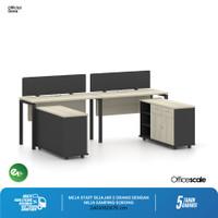 Meja Kerja Kantor U Shape Sejajar 2 Orang + Meja Samping Sorong