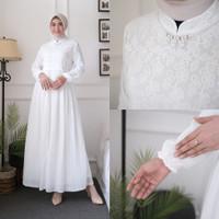 AGNES Baju Gamis Putih Wanita Brukat Busana Muslim Lebaran Pesta 821