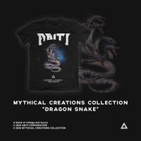 Baju T Shirt Black Dragon Snake Abiti - S